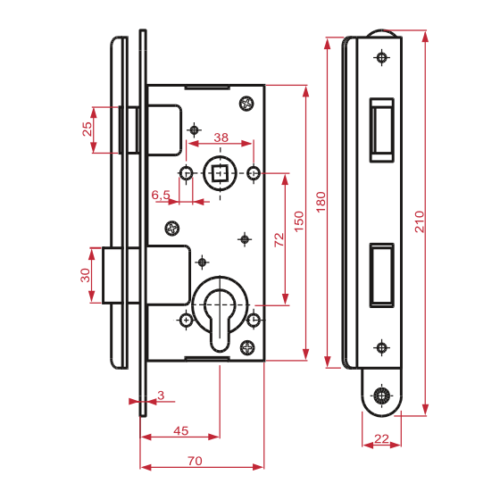 durvju slēdzene ZV45 izmēri